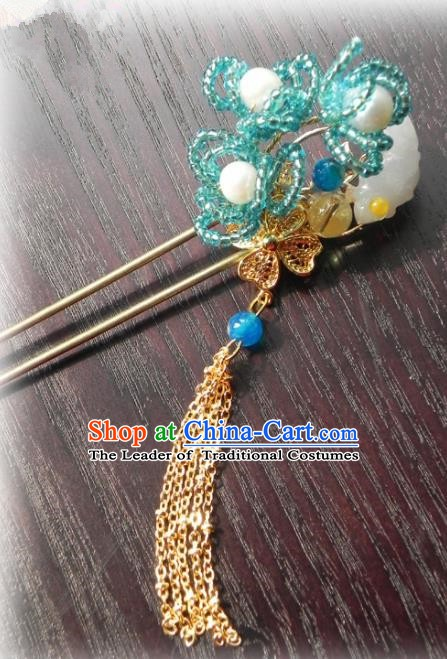 Chinese Handmade Ancient Blue Hairpins Hair Accessories Classical Hanfu Hair Clip for Women