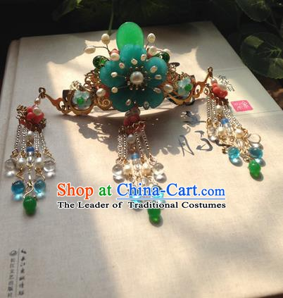Chinese Handmade Ancient Hair Accessories Classical Hanfu Green Flower Tassel Hairpins for Women