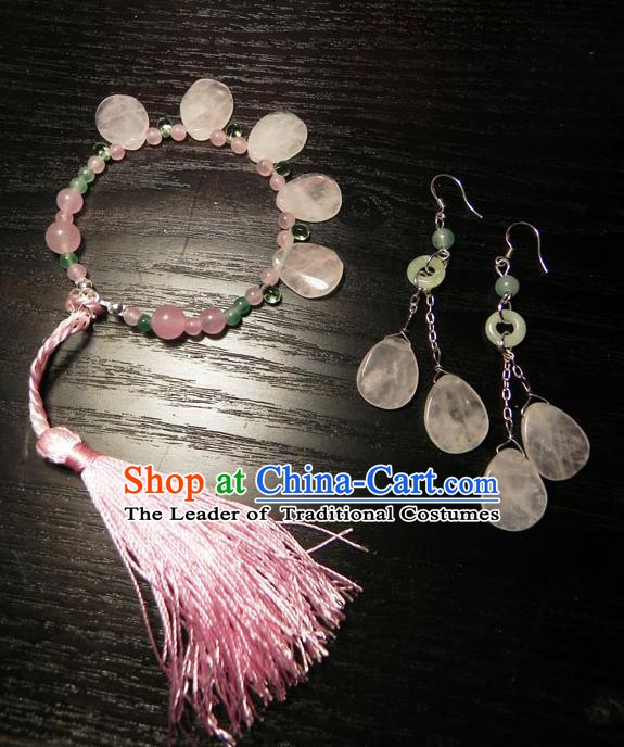 Chinese Handmade Ancient Accessories Crystal Bracelets and Earrings for Women
