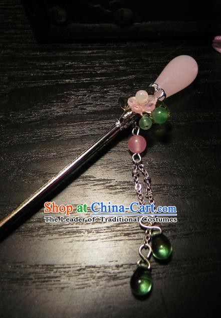 Chinese Handmade Ancient Hair Accessories Pink Crystal Hair Clip Classical Hanfu Hairpins for Women
