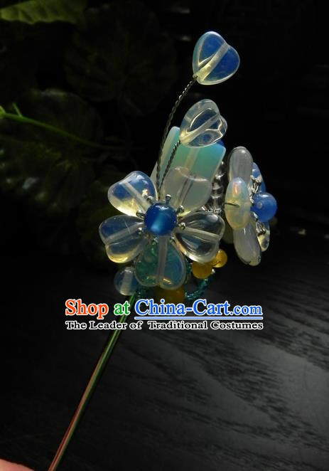 Chinese Handmade Ancient Hair Accessories Crystal Hair Clip Classical Hanfu Hairpins for Women