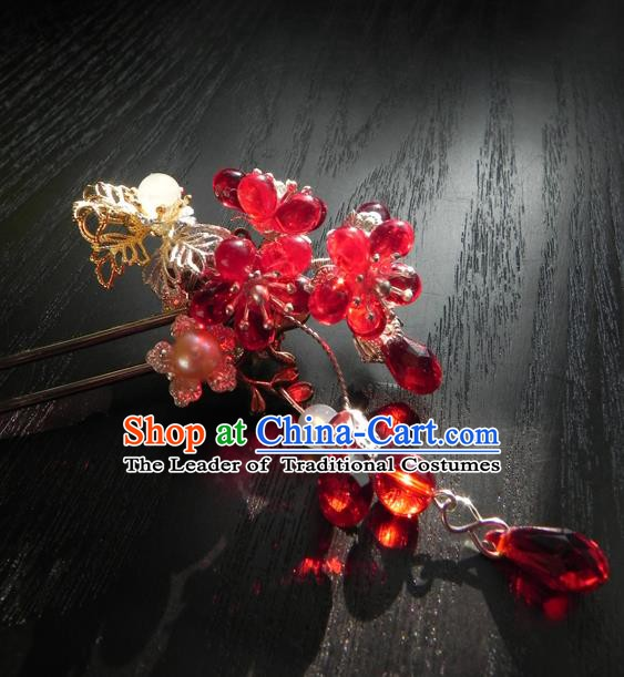 Chinese Handmade Ancient Hanfu Red Crystal Hairpins Hair Accessories Classical Hair Clip for Women