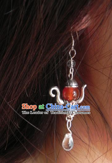 Chinese Handmade Ancient Accessories Red Crystal Earrings for Women