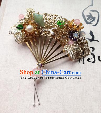 Chinese Handmade Ancient Hanfu Hairpins Hair Accessories Classical Fan-Shape Hair Claw for Women