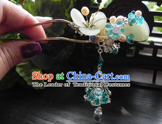 Chinese Handmade Ancient Hair Clip Hair Accessories Classical Hanfu Tassel Hairpins for Women