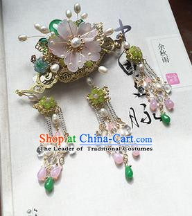 Chinese Handmade Ancient Hair Accessories Classical Hanfu Pink Flower Tassel Hairpins for Women