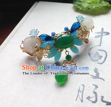 Chinese Handmade Ancient Hair Accessories Classical Hanfu Jadeite Butterfly Hair Stick Hairpins for Women