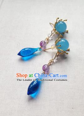 Chinese Ancient Handmade Accessories Hanfu Blue Crystal Earrings for Women