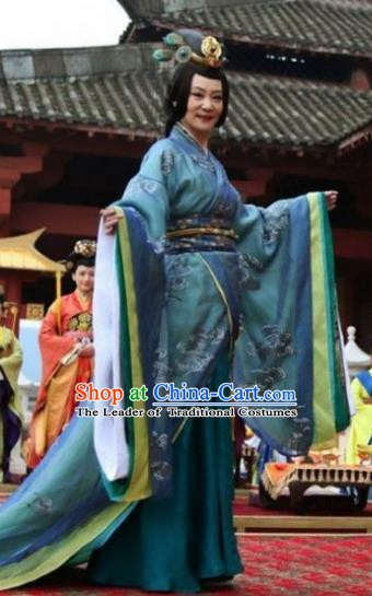 Chinese Ancient Northern and Southern Dynasties Qi Kingdom Empress Dowager Lou Zhaojun Replica Costume for Women