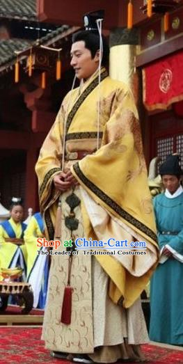 Chinese Ancient Northern and Southern Dynasties Qi Kingdom Emperor Gao Yan Imperial Robe Replica Costume for Men