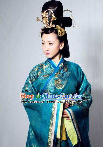 Chinese Ancient Empress Northern and Southern Dynasties Qi Kingdom Queen Xiao Hanfu Dress Replica Costume for Women