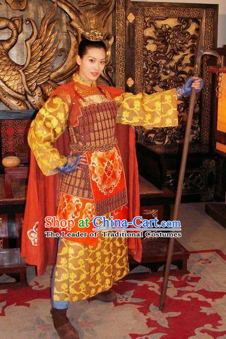 Chinese Ancient Tang Dynasty Female General Princess Pingyang Replica Costume for Women