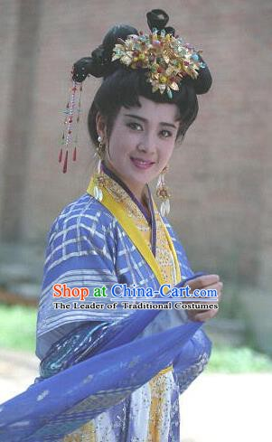 Chinese Ancient Tang Dynasty Imperial Concubine Yang Hanfu Dress Replica Costume for Women