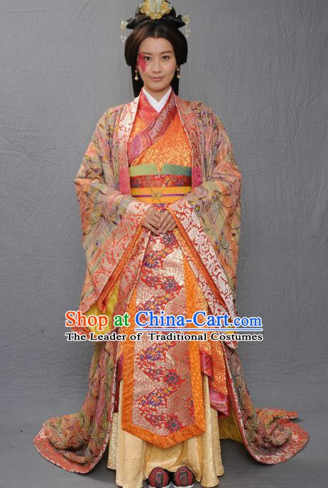 Ancient Chinese Warring States Period Qi Kingdom Empress Zhong Wuyan Hanfu Dress Palace Lady Replica Costume for Women