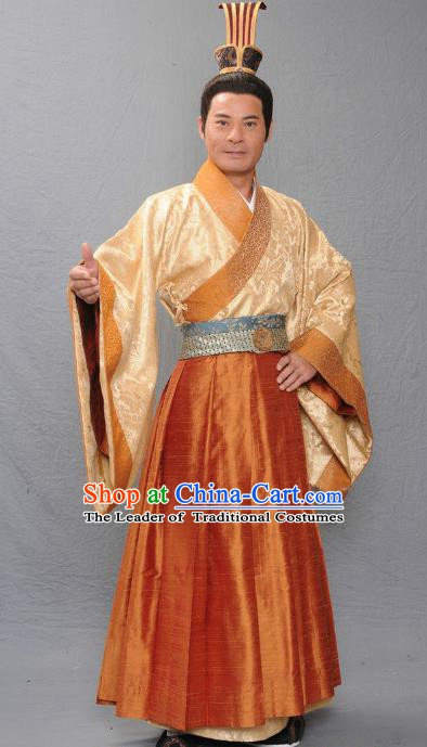 Chinese Ancient Warring States Period Qi Kingdom Royal Highness Xinyang Tian Xiaoshi Replica Costume for Men
