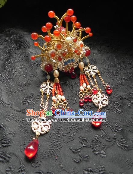 Chinese Ancient Hanfu Tassel Handmade Hairpins Hair Accessories Red Beads Hair Clip for Women
