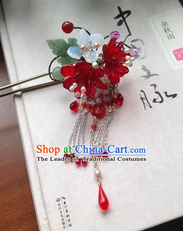 Chinese Ancient Hanfu Tassel Handmade Red Flowers Hairpins Hair Accessories Hair Clip for Women