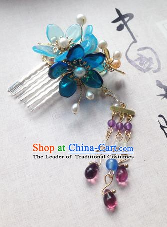 Chinese Ancient Hanfu Tassel Handmade Hairpins Hair Accessories Blue Flowers Hair Comb for Women