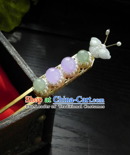 Chinese Ancient Hanfu Handmade Jadeite Hairpins Hair Accessories Hair Clip for Women