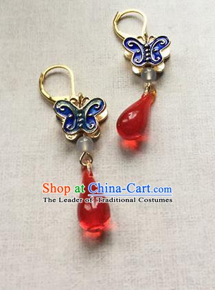 Chinese Handmade Ancient Accessories Eardrop Hanfu Cloisonn Butterfly Earrings for Women