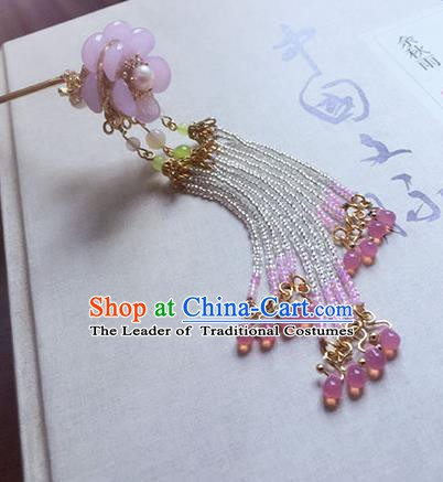 Chinese Ancient Hanfu Handmade Pink Beads Tassel Hairpins Hair Accessories Hair Clip for Women