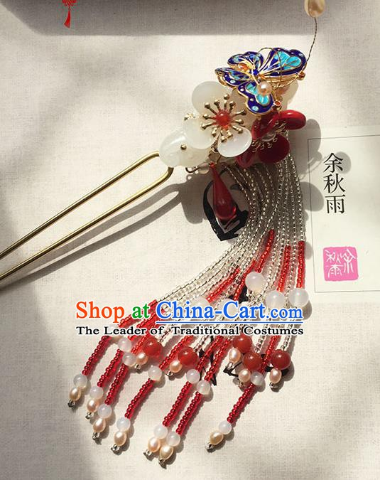 Chinese Ancient Hanfu Handmade Cloisonn Butterfly Hairpins Hair Accessories Hair Claw for Women