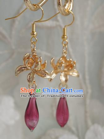 Chinese Handmade Ancient Golden Lotus Earrings Accessories Hanfu Crystal Eardrop for Women
