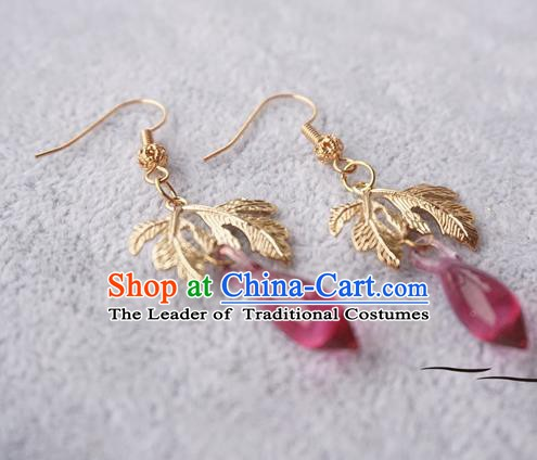 Chinese Handmade Ancient Golden Leaf Earrings Accessories Hanfu Crystal Eardrop for Women