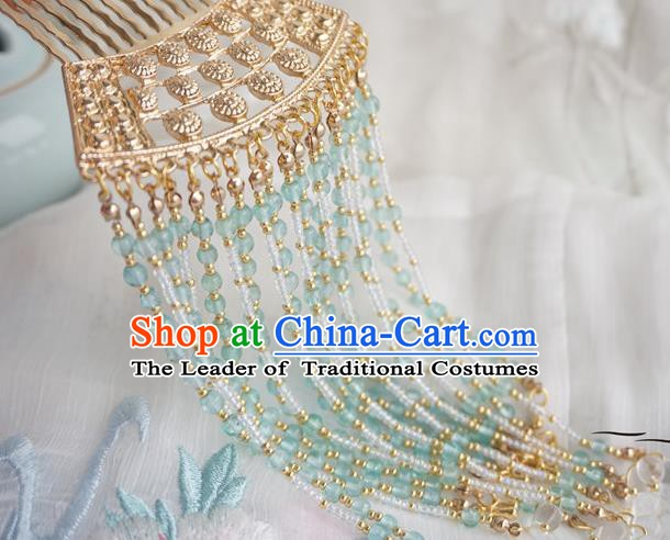 Chinese Ancient Hanfu Handmade Golden Tassel Hair Comb Hairpins Hair Accessories for Women
