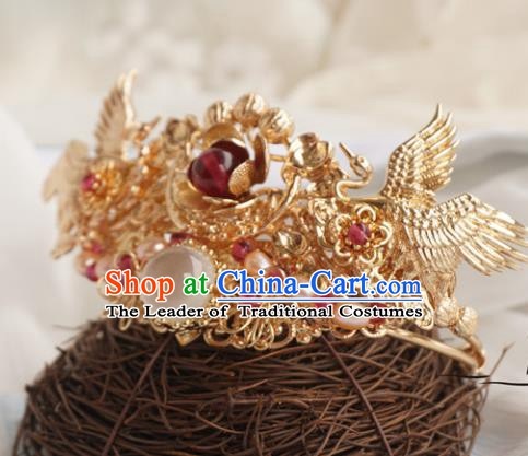 Chinese Ancient Handmade Golden Crane Hair Crown Hanfu Hairpins Hair Accessories for Women