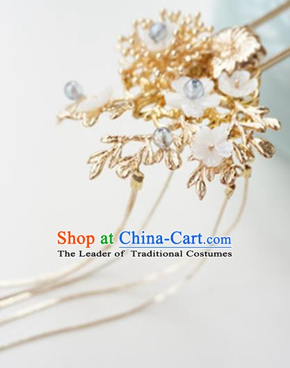 Chinese Ancient Handmade Golden Flowers Hair Clip Hanfu Hairpins Hair Accessories for Women