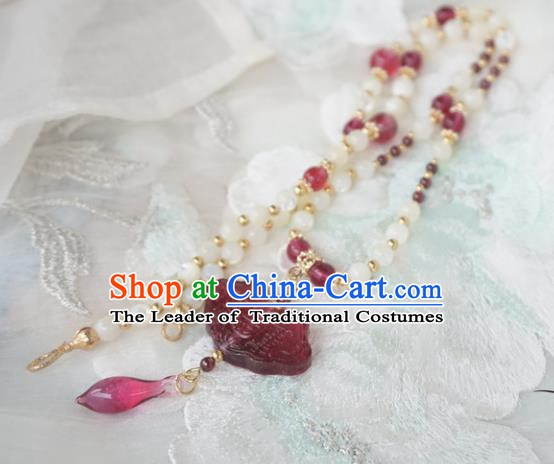 Chinese Handmade Ancient Jewelry Accessories Coloured Glaze Necklace Hanfu Necklet for Women