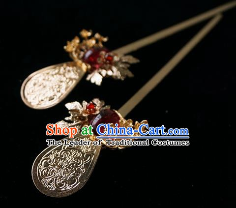 Chinese Ancient Handmade Fine Copper Hanfu Hairpins Hair Accessories for Women