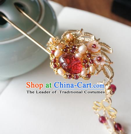 Chinese Ancient Handmade Hanfu Tassel Hairpins Step Shake Hair Accessories for Women