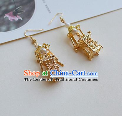 Chinese Handmade Ancient Jewelry Accessories Eardrop Hanfu Golden Pavilion Tassel Earrings for Women