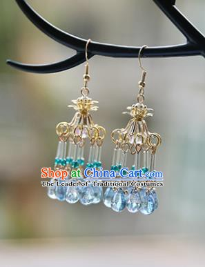 Chinese Handmade Ancient Jewelry Accessories Eardrop Hanfu Blue Beads Tassel Earrings for Women