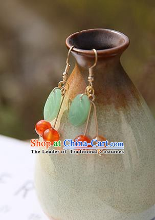 Chinese Handmade Ancient Jewelry Accessories Eardrop Hanfu Leaf Earrings for Women