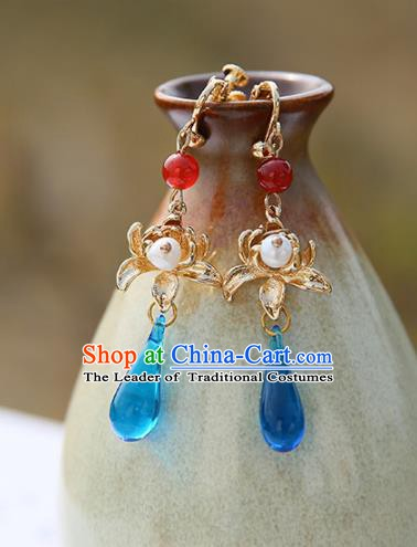 Chinese Handmade Ancient Jewelry Accessories Eardrop Hanfu Blue Crystal Lotus Earrings for Women