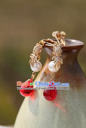 Chinese Handmade Ancient Jewelry Accessories Red Crystal Eardrop Hanfu Earrings for Women
