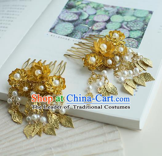 Chinese Ancient Handmade Hanfu Classical Tassel Hairpins Palace Lady Golden Leaf Hair Combs Hair Accessories for Women