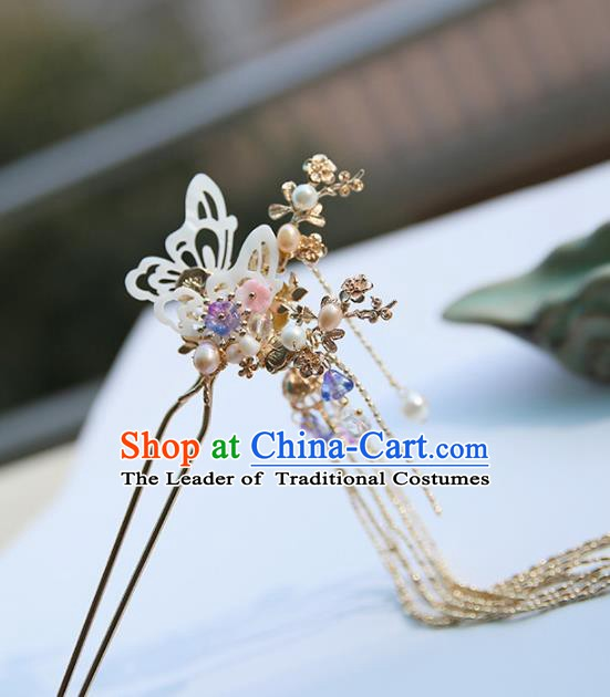 Chinese Ancient Handmade Hanfu Classical Tassel Hairpins Palace Lady Shell Butterfly Hair Clip Hair Accessories for Women
