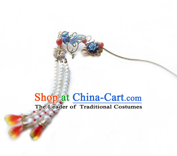 Chinese Ancient Handmade Hanfu Classical Tassel Hairpins Palace Lady Blueing Phoenix Hair Clip Hair Accessories for Women