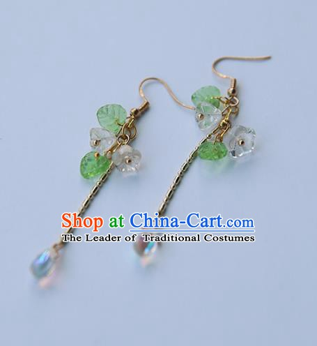 Chinese Handmade Ancient Jewelry Accessories Eardrop Hanfu Long Tassel Earrings for Women