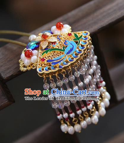 Chinese Ancient Handmade Hanfu Cloisonn Hairpins Palace Lady Tassel Hair Clips Hair Accessories for Women