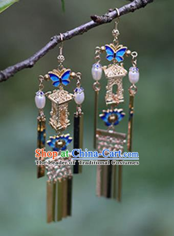 Chinese Handmade Ancient Jewelry Accessories Blueing Butterfly Eardrop Hanfu Earrings for Women