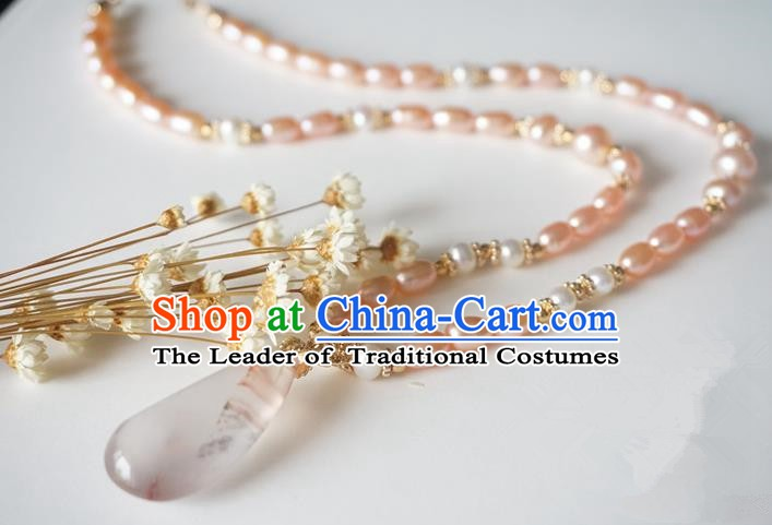 Chinese Handmade Ancient Jewelry Accessories Pearls Necklace Hanfu Necklet for Women