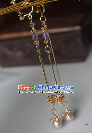 Chinese Handmade Ancient Jewelry Accessories Hanfu Tassel Earrings for Women
