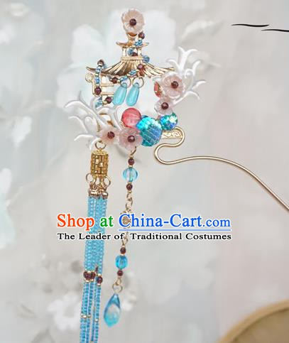 Chinese Ancient Handmade Hanfu Blue Tassel Step Shake Hairpins Hair Accessories for Women