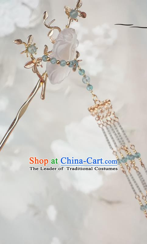 Chinese Ancient Handmade Tassel Step Shake Hanfu Jade Hairpins Hair Accessories for Women