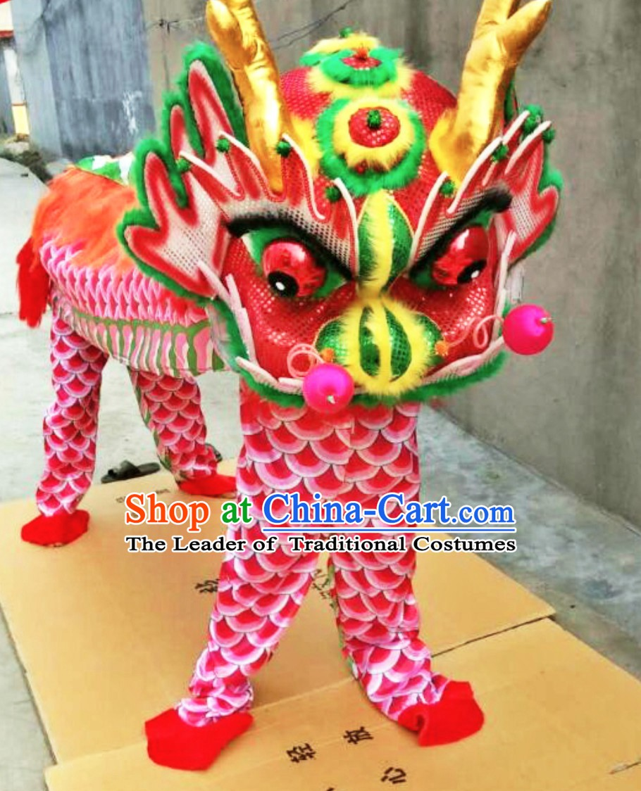 2 People Dragon Dance Costume Kylin Dancing Costumes Complete Set